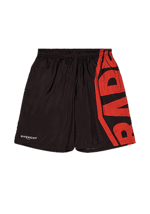 Givenchy Logo Long Bermuda Swim Short in Black & Red - Black. Size S (also in M,XL).