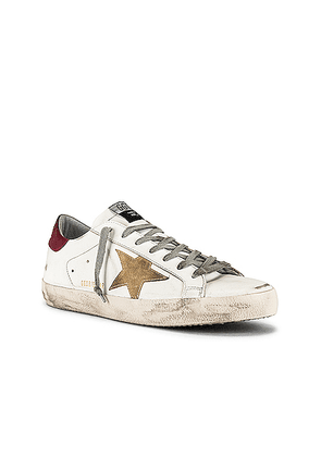Golden Goose Superstar Leather Upper & Heel Suede Star in White & Cappuccino & Bordeaux - White. Size 41 (also in 43,44).