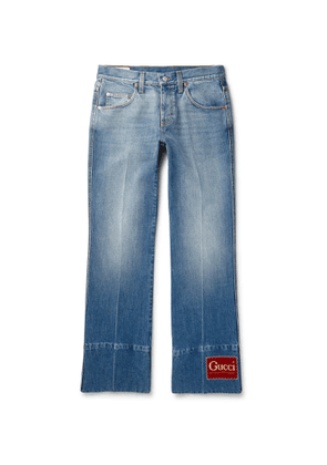 Gucci - Flared Logo-Appliquéd Denim Jeans - Men - Blue