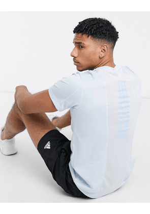 adidas Training back stripe t-shirt in light blue