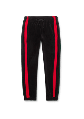 Gucci - Tapered Striped Cotton-Blend Velour Sweatpants - Men - Black