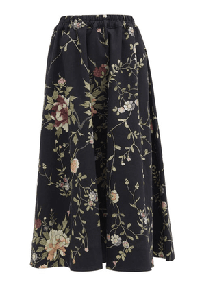 By Walid - Daisy Floral-embroidered Cotton-canvas Midi Skirt - Womens - Black Multi
