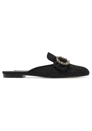 Dolce & Gabbana Crystal-embellished Buckled Brocade Slippers Woman Black Size 36
