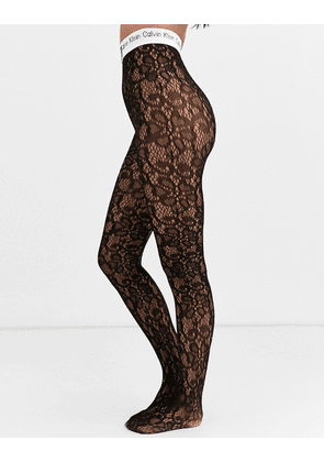 Calvin Klein the conversational logo lace tights in black
