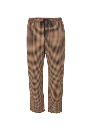 Barena - Checked Virgin Wool-Blend Drawstring Trousers - Men - Brown