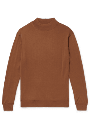 Camoshita - Wool Mock-Neck Sweater - Men - Brown