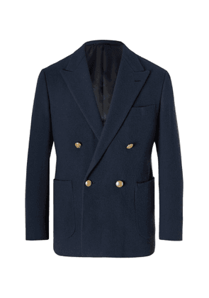 Camoshita - Double-Breasted Wool Blazer - Men - Blue