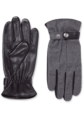 Dents - Guildford Mélange Flannel and Leather Gloves - Men - Gray