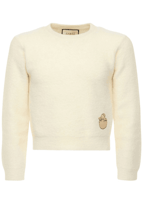 Embroidered Patch Wool Knit Sweater