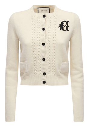 Embroidered Wool Knit Crop Cardigan