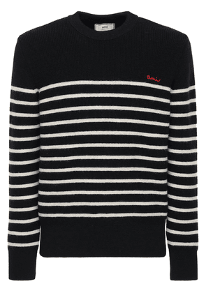 Logo Striped Wool Knit Sweater