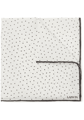 Lanvin - Polka-Dot Silk Pocket Square - Men - White