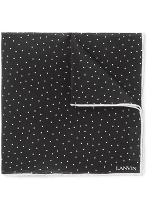 Lanvin - Polka-Dot Silk Pocket Square - Men - Black