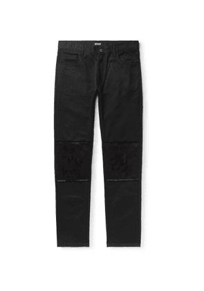 Raf Simons - Slim-Fit Distressed Satin-Trimmed Denim Jeans - Men - Black