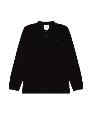 Y-3 Yohji Yamamoto Pique Long Sleeve Polo in Black - Black. Size M (also in S).