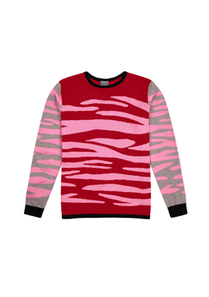 Orwell + Austen Cashmere - Zebra Sweater In Red & Pink