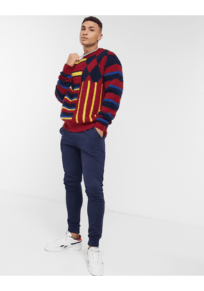 Tommy Hilfiger Collections striped pilled wool crewneck-Red