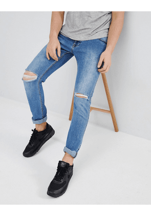 Dr Denim Clark Light Stone Destroyed Ripped Knee Slim Jeans-Blue