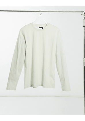 ASOS DESIGN long sleeve t-shirt with crew neck in green-Purple