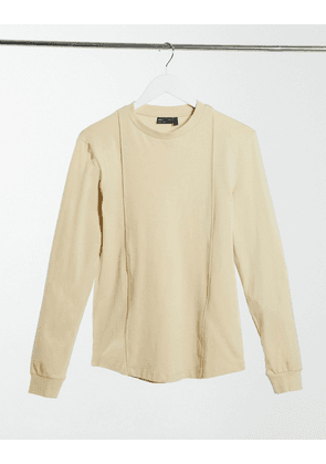 ASOS DESIGN muscle fit smart long sleeve t-shirt with pintuck detail in beige