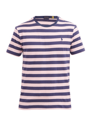 Polo Ralph Lauren - Logo-embroidered Striped Cotton T-shirt - Mens - Pink Navy