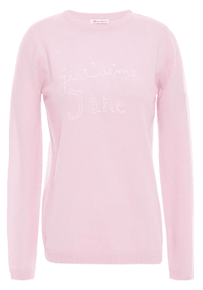 Bella Freud Embroidered Intarsia Cashmere Sweater Woman Baby pink Size S
