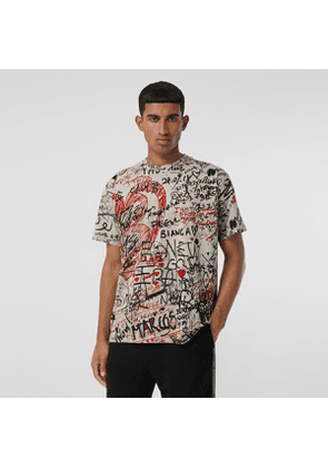 Burberry Graffiti Print Oversized T-shirt, Grey