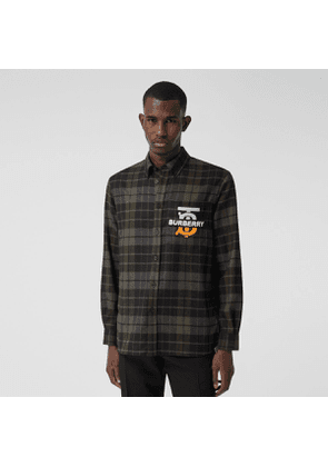 Burberry Monogram Motif Check Wool Flannel Oversized Shirt, Black