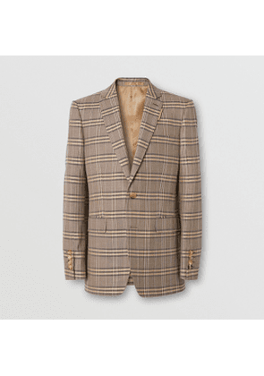 Burberry Prince of Wales Check Wool Silk Tailored Jacket, Brown