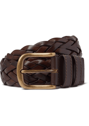 Anderson & Sheppard - 3.5cm Woven Leather Belt - Men - Brown