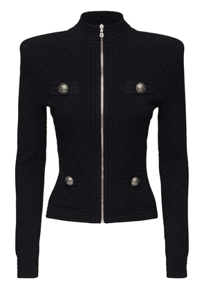 Fitted Knit Viscose Blend Zip Jacket