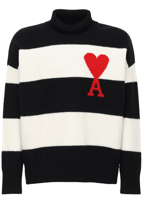 Heart Logo Striped Wool Knit Sweater