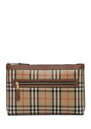 Check Coated Cotton Canvas Pouch