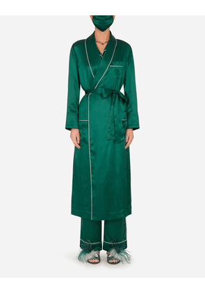 Dolce & Gabbana Loungewear Collection - Silk robe with matching face mask GREEN female 40