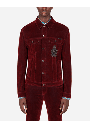 Dolce & Gabbana Private 40 - FLOCKED STRETCH DENIM JACKET WITH PATCH EMBELLISHMENT BORDEAUX male 46