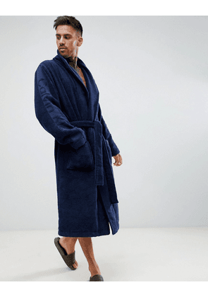 Calvin Klein Dressing Gown with Logo Sleeves in Terry-Navy