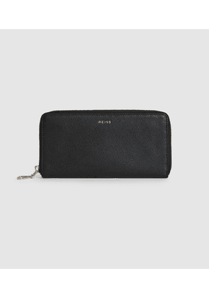 Reiss Ava - Leather Zip Top Purse in Black, Womens