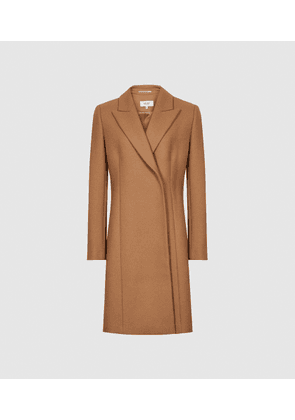 Reiss Evie - Wool Blend Mid Length Overcoat in Camel, Womens, Size 16