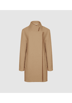 Reiss Sicily - Wool Blend Mid Length Coat in Camel, Womens, Size 16