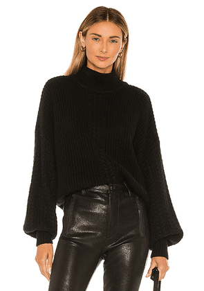 Autumn Cashmere Cable Sleeve Mock Sweater in Black. Size L,S,XS.
