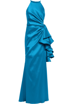 Badgley Mischka Bow-detailed Ruched Faille Gown Woman Azure Size 8