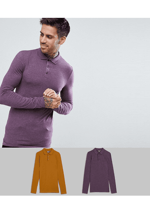 ASOS DESIGN 2 pack muscle fit jersey long sleeve polo save-Multi