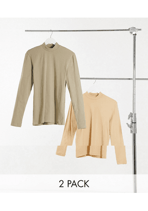 ASOS DESIGN 2 pack long sleeve muscle fit turtle neck-Multi