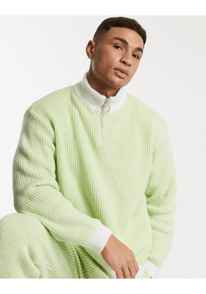 ASOS DESIGN knitted co-ord half zip ribbed jumper in lime green
