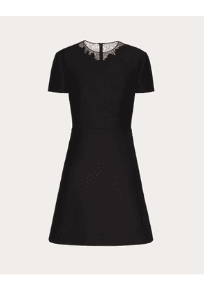 Valentino Short Crepe Couture And Lace Dress Women Black Virgin Wool 65%, Silk 35% 36