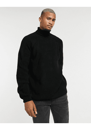 ASOS DESIGN knitted ribbed jumper with funnel neck in black
