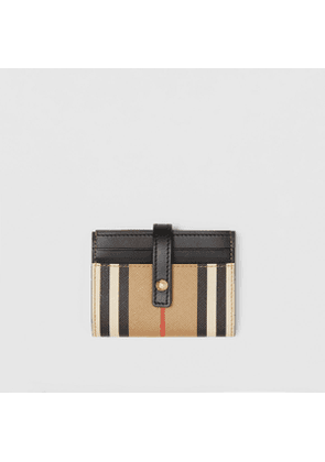 Burberry Icon Stripe E-canvas Folding Card Case, Beige