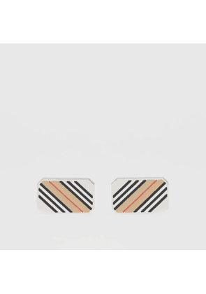 Burberry Icon Stripe Palladium-plated Cufflinks, Silver