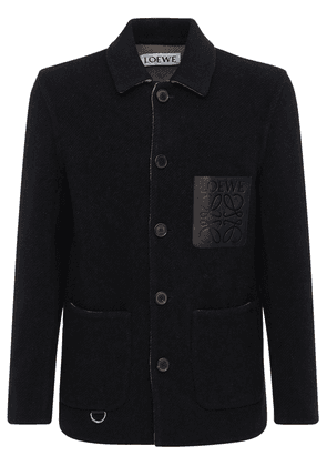 Logo Wool Blend Shirt Jacket