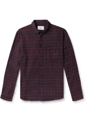 Folk - Button-Down Collar Checked Cotton-Flannel Shirt - Men - Burgundy